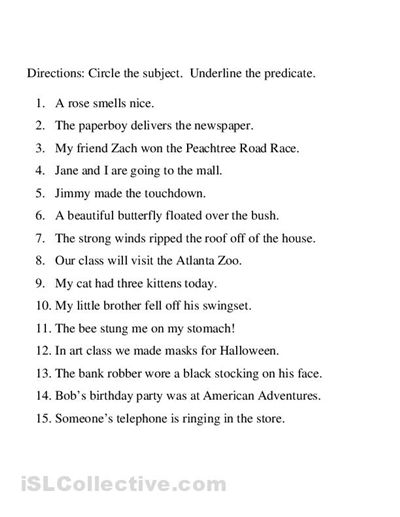 Worksheets Subject And Predicate Worksheets subject and predicate simple identifying worksheet