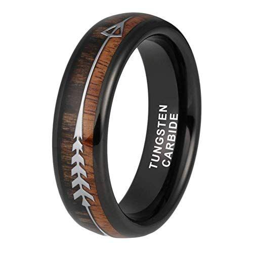 Itungsten 6mm Black Tungsten Rings Womens Mens Wedding Bands Koa