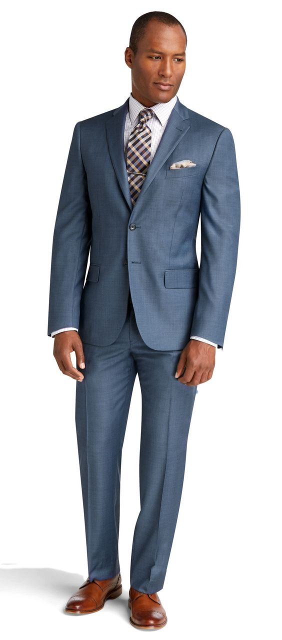 Reserve 2 Button Plain Front Slim Fit Postman Blue Sharkskin Suit Big and Tall
