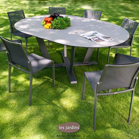 Collection hegoa table ronde extensible allonge for Table exterieur hpl