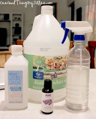 Homemade Febreeze  1 cup rubbing alcohol  1 cup white distilled vinegar  10-20 drops of your choice essential oil