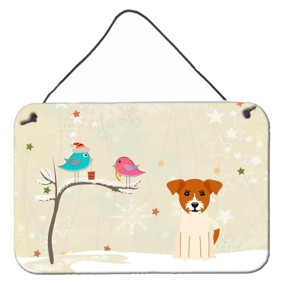 Christmas Presents between Friends Jack Russell Terrier Wall or Door Hanging Prints BB2580DS812