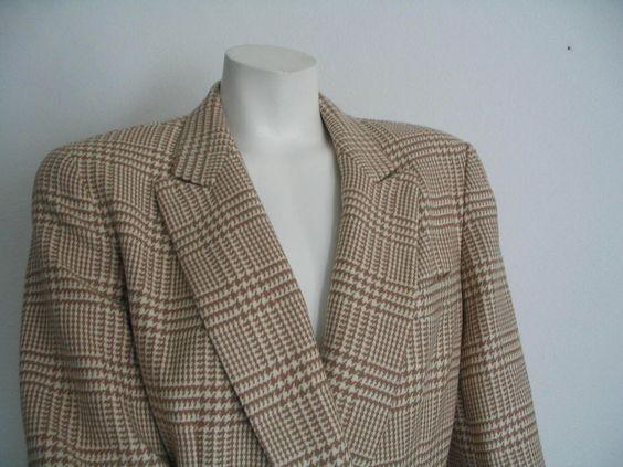 ANNE KLEIN Jacket Blazer  Double Breasted Plaid 100% Wool Size 8 NWT #AnneKlein #Blazer