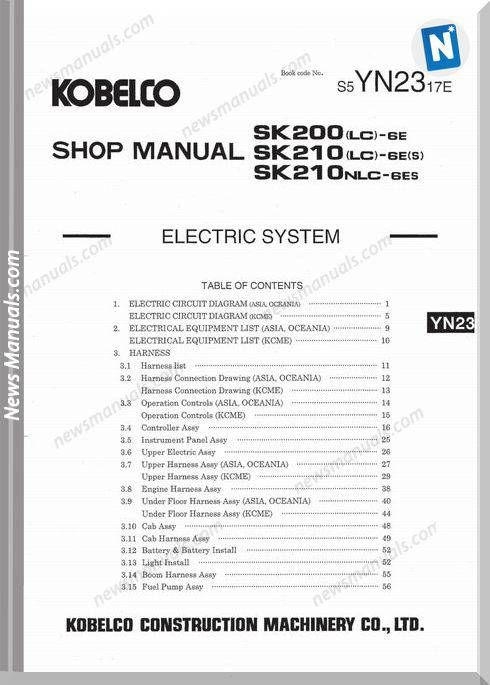 Kobelco Sk200 Wiring Diagrams | Diagram online, Electrical system, DiagramPinterest