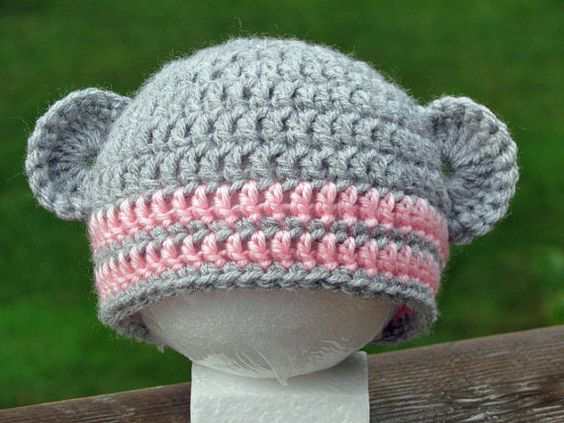 Sock Monkey Beanie Grey and Pink #crochet #baby