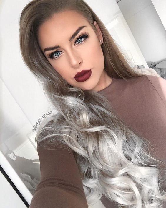 """""""Grey   Wearing my @foxylocks.co.uk 20"""" Superior Ombre Clip in Extensions ❤️ Lips ~ @anastasiabeverlyhills Liquid Lipstick in 'Heathers'   Lashes ~…"""""""