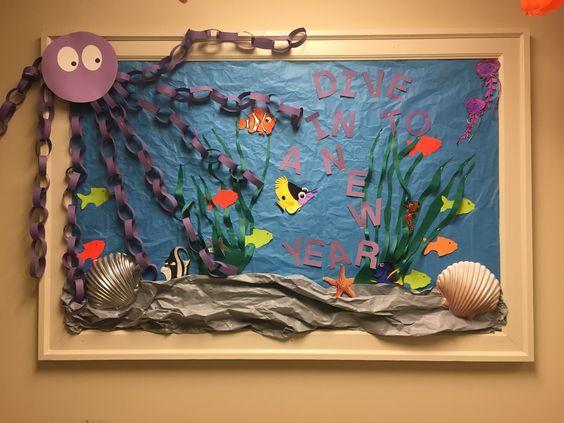 Ocean inspired bulletin board.