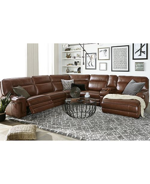 Furniture Closeout Myars 3 Pc Leather Chaise Sectional Sofa With 1 Power Recliner Power Headrests And Usb Power Outlet Created For Macy S Reviews Furnit Living Room Leather Leather Couches Living