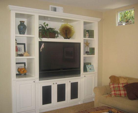 Custom built in tv entertainment home theater media for Media center with bookshelves