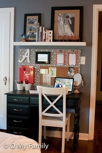Desk-sized bulletin board and a high shelf