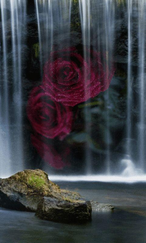 Waterfalls Lit With Glow Sticks Waterfall Waterfall Lights Live Wallpapers