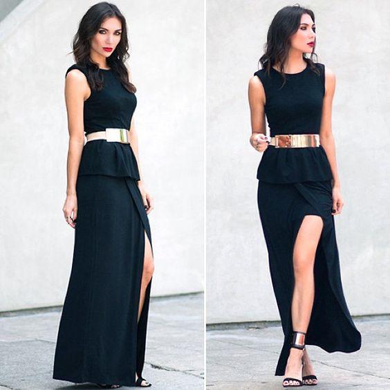 black dress with gold belt bridemaids