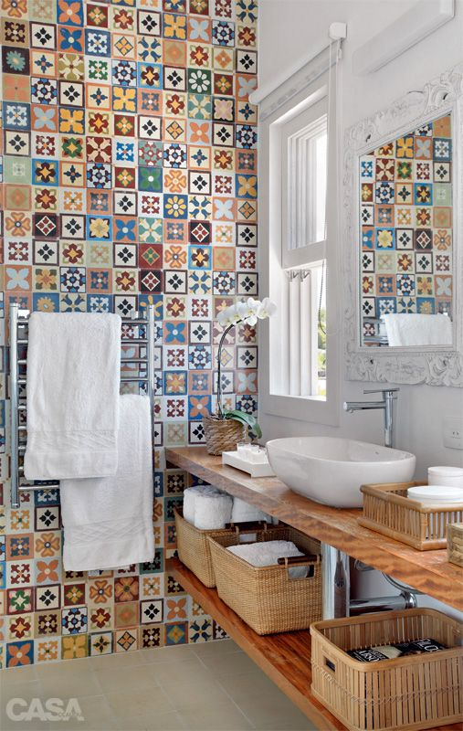 Fabulous mosaic bathroom wall.: