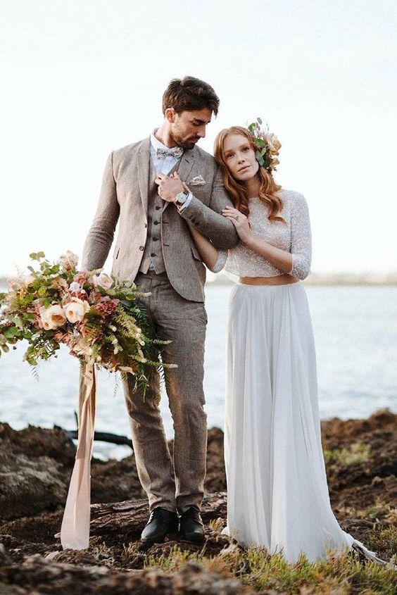 27 Rustic Groom Attire For Country Weddings ❤ rustic groom attire brown vest jacket with bow tie camillaanchisi #weddingforward #wedding #bride