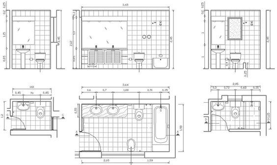 خطط ومقاطع رأسية لانواع مختلفة من الحمامات:
