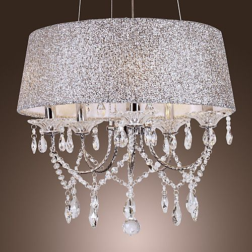 Qingming 5 Light 50 20 Crystal Chandelier Metal Electroplated Modern Contemporary 110 120v 220 240v Lustre De Ferro Luz De Lampada Candelabro De Cristal
