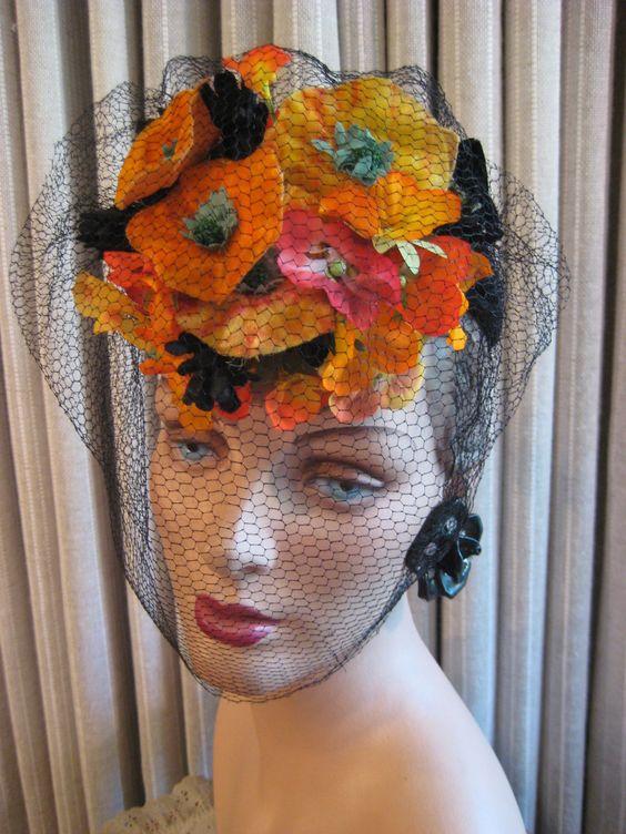 FLIRTY 40'S FLOWER TILT/HAT W/ VEIL | eBay