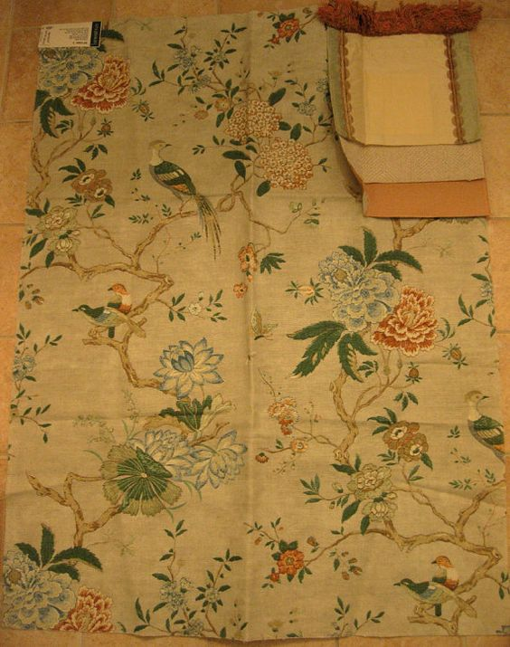 Oriental Bird Lee Jofa Floral Chinoiserie Designer Fabric Sample Blue Orange GP J Baker