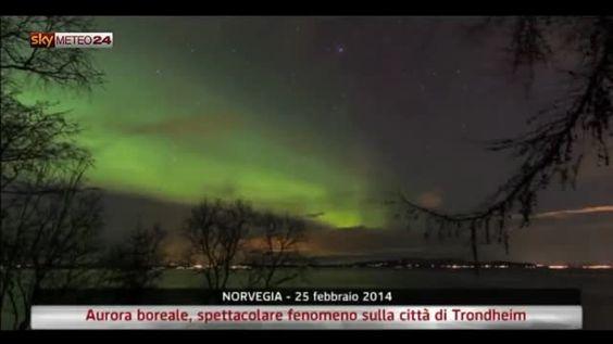 Norvegia, aurora boreale sulla città di Trondheim. Video