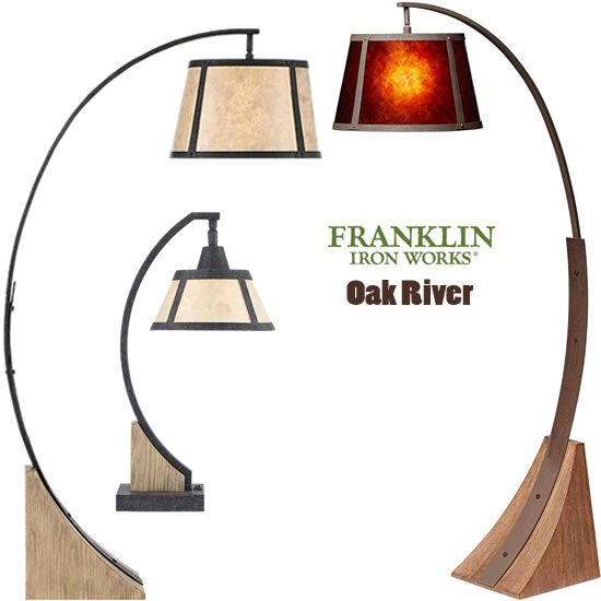 Franklin Iron Works Oak River Arts And Crafts Style Floor Lamp And