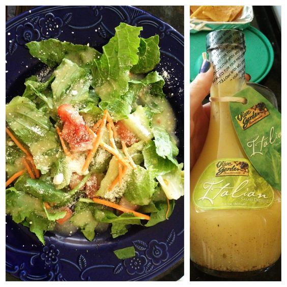 Salad with romaine lettuce, spinach, tomatoes, avocado, carrots, parmesan cheese, and Olive Garden dressing! Healthy and so good:)