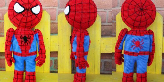 Muñeco Spiderman (mide 45cm) Patrón Gratis en Español aquí: http://www.crochetyamigurumis.com/spiderman/
