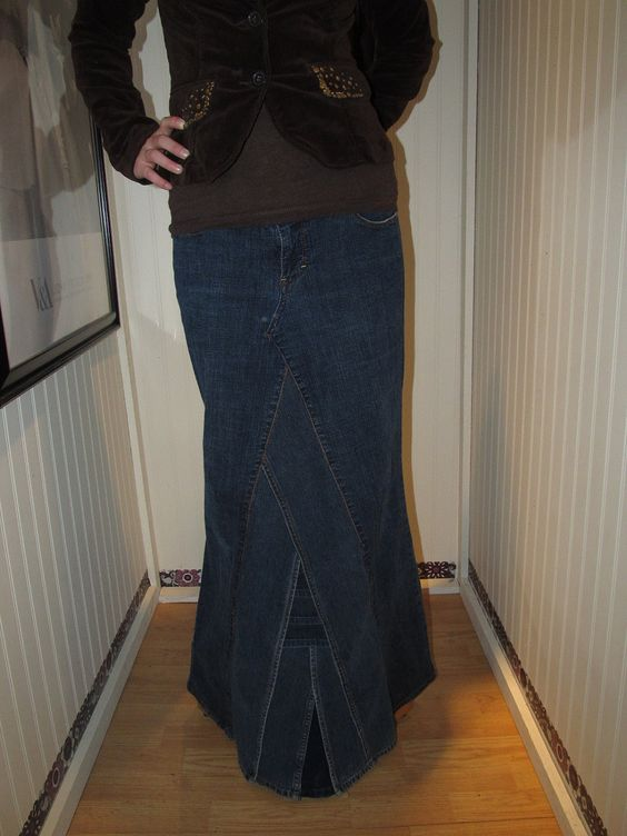 Re-Designed Ankle Length Jean Skirt via Etsy.   My Inner ...
