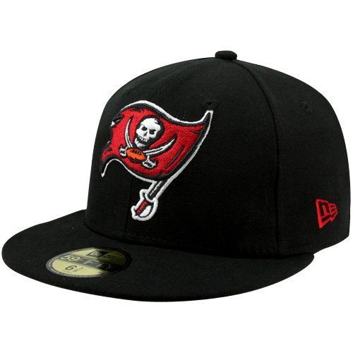 NFL Tampa Bay Buccaneers Black and Team Color 59Fifty Fitted Cap by New Era. $25.99. Show Your Team Spirit with This National Football League 59Fifty Fitted Cap. Features An Embroidered (Raised) Team Logo At Front, A Stitched New Era Flag At Wearer'S Left Side. Interior Includes Branded Taping and A Moisture Absorbing Sweatband. Fitted, Closed Back.