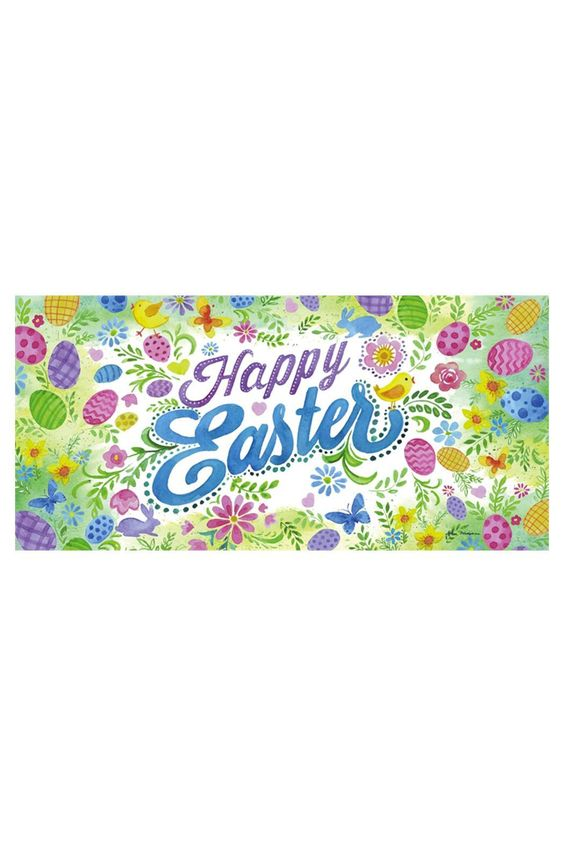 Sassafras Happy Easter Mat Insert Size 10 X 22 X 0 2 Happy Easter Mat By Evergreen Enterprises Home Gifts Home Decor Outdoo Happy Easter Easter Happy