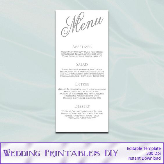 Wedding menu, Menu cards and Wedding menu template