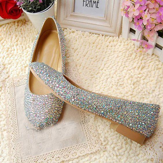 Crystal Flat Heel Shoes