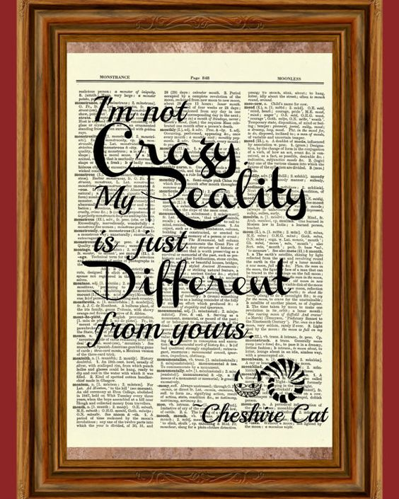 Cheshire Cat Quote (Alice in Wonderland) Upcycled Dictionary Art Print Quote Poster