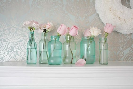 DIY turqouise jars...so pretty!