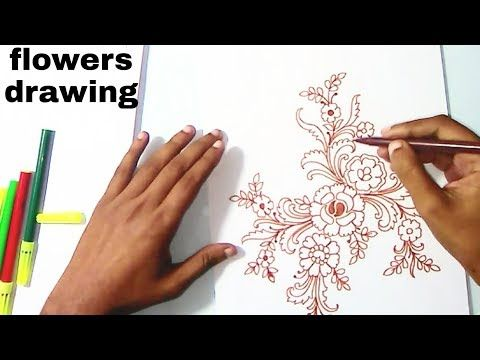 Youtube How To Draw Floral Designs On Paper Drawing Flowers