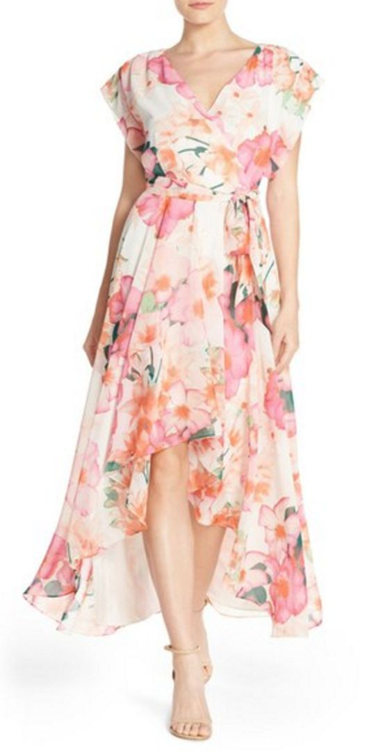 Pink Floral Chiffon Hi-Lo Dress with Loose Cap Sleeves