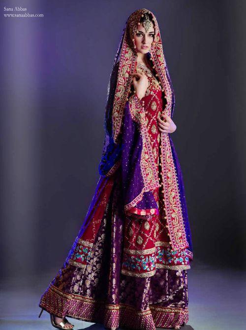 Wedding Dresses Asian Purple : Sana abbas lengha pakistani wedding dress
