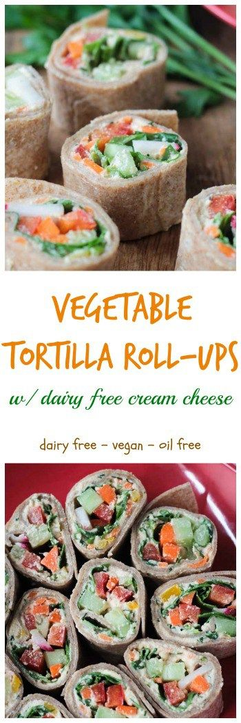 Tortilla Rollups w/ Dairy Free Veggie Cream Cheese - These creamy, crunchy little bites are the perfect party appetizer or light lunch. Loaded with dairy free veggie cream cheese, then topped with more fresh cut veggies, and all rolled up into a tortilla and cut into bite size pieces - these are not only delicious, but so fun to eat! Perfect for your child's lunchbox - customize it with their favorite veggies.