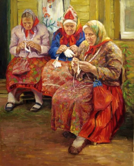 Women from Kihnu island, an Oil Painting on Canvas, by Stanislav Antipov from Estonia