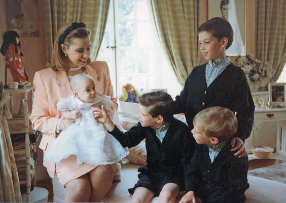 Grand Duchesse Maria Teresa of Luxembourg with her children; baby Princess Alexandra, sons, Prince Felix, Crown Prince Guillaume and Prince Louis