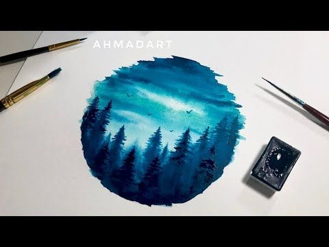 Simple Watercolor Forest Circle Tutorial For Beginners Easy