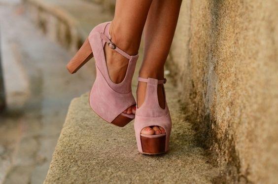 cute pink wedge heels
