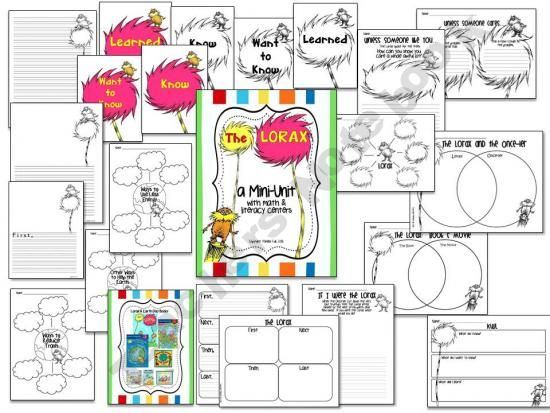 Dr Seuss The Lorax Mini Unit With Literacy Math Centers