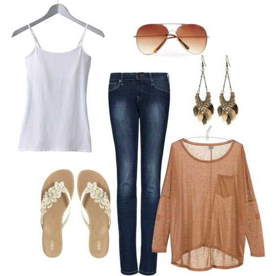 This look is perfect for Spring, Summer and Fall. So much could be done with the tan t-shirt!