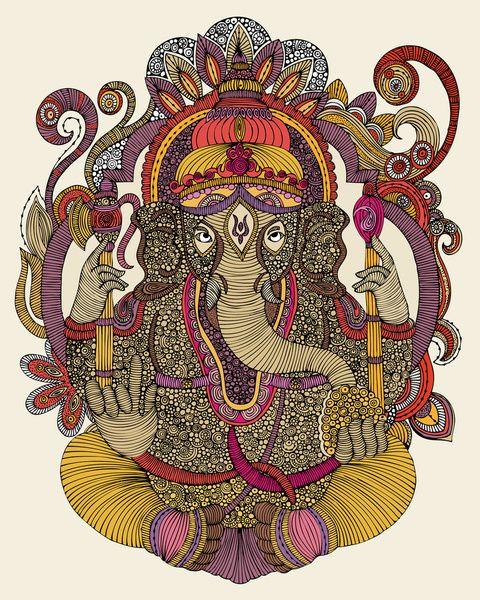 "Lord Ganesha by Valentina ART PRINT / MINI (8"" X 9"") $18.00"