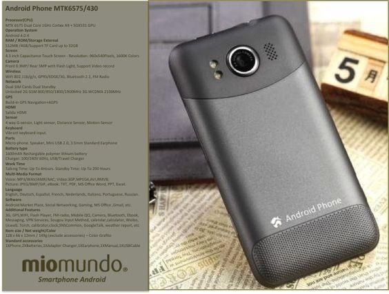 """Android Phone Miomundo de 4,3"""" TK6575 en Color Grafito"""