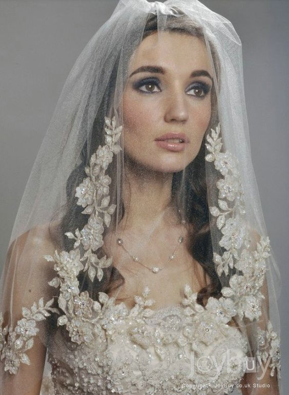 Vintage Wedding Veils | Vintage Appliques Tulle Gold Thread Wedding Veils