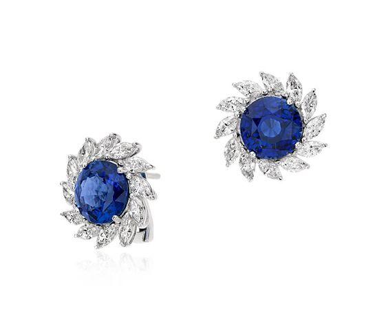 Sapphire and Diamond Sunburst Halo Earrings in Platinum | Blue Nile      -YES PLEASE!!!!!!