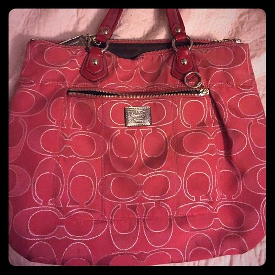 Authentic red Coach poppy tote Excellent condition xl size bag 12.5 x 16. No stains/ rips or marks. Coach Bags Totes