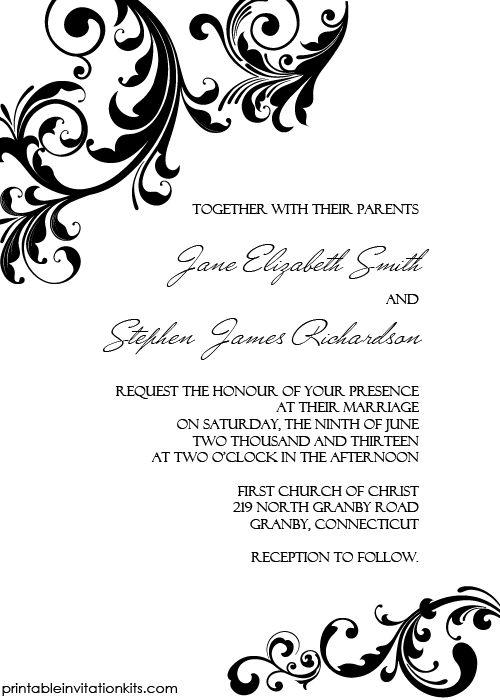Elegant wedding invitation swirling borders printable for Wedding invitation page borders free download