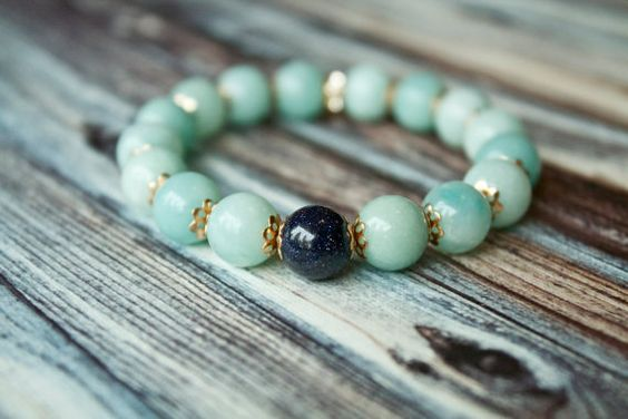 New Yogi Mental Clarity Bracelet, Natural Amazonite and Blue Sandstone Bracelet by Phenomenal Women $28